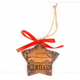 Berlin - Trabant - Sternform, braun, handgefertigte Keramik, Christbaumschmuck