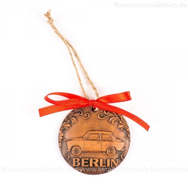 Berlin - Trabant - runde form, braun, handgefertigte Keramik, Weihnachtsbaumschmuck