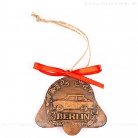 Berlin - Trabant - Glockenform, braun, handgefertigte Keramik, Baumschmuck zu Weihnachten