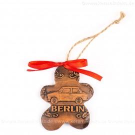 Berlin - Trabant - Keksform, braun, handgefertigte Keramik, Christbaumschmuck