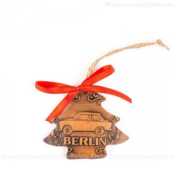Berlin - Trabant - Weihnachtsbaum-form, braun, handgefertigte Keramik, Weihnachtsbaumschmuck