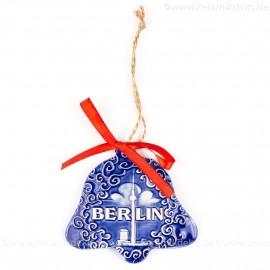 Berlin - Fernsehturm - Glockenform, blau, handgefertigte Keramik, Baumschmuck zu Weihnachten
