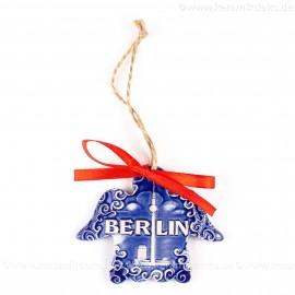 Berlin - Fernsehturm - Engelform, blau, handgefertigte Keramik, Weihnachtsbaum-Hänger