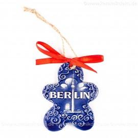 Berlin - Fernsehturm - Keksform, blau, handgefertigte Keramik, Christbaumschmuck