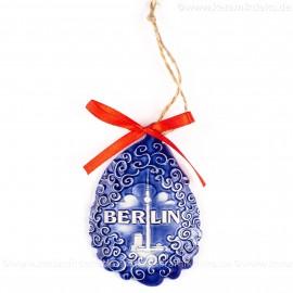 Berlin - Fernsehturm - Weihnachtsmann-form, blau, handgefertigte Keramik, Baumschmuck zu Weihnachten