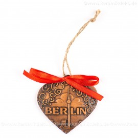 Berlin - Fernsehturm - Herzform, braun, handgefertigte Keramik, Weihnachtsbaum-Hänger