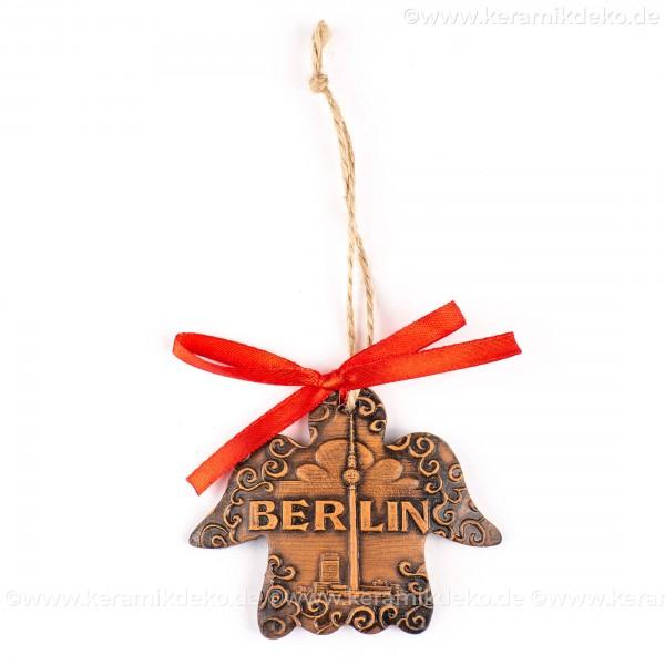 Berlin - Fernsehturm - Engelform, braun, handgefertigte Keramik, Weihnachtsbaum-Hänger