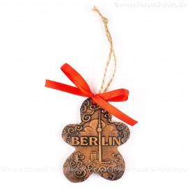 Berlin - Fernsehturm - Keksform, braun, handgefertigte Keramik, Christbaumschmuck