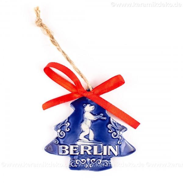 Berlin - Fernsehturm - Weihnachtsbaum-form, blau, handgefertigte Keramik, Weihnachtsbaumschmuck