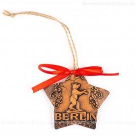 Berlin - Fernsehturm - Sternform, braun, handgefertigte Keramik, Christbaumschmuck