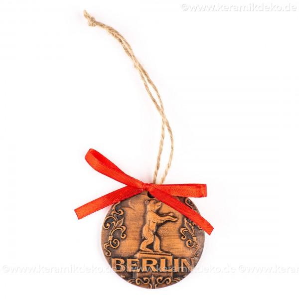 Berlin - Fernsehturm - runde form, braun, handgefertigte Keramik, Weihnachtsbaumschmuck