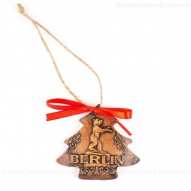 Berlin - Fernsehturm - Weihnachtsbaum-form, braun, handgefertigte Keramik, Weihnachtsbaumschmuck