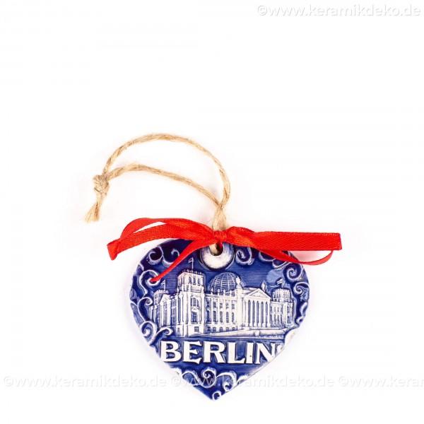 Berlin - Fernsehturm - Herzform, blau, handgefertigte Keramik, Weihnachtsbaum-Hänger