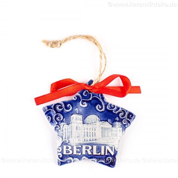 Berlin - Fernsehturm - Sternform, blau, handgefertigte Keramik, Christbaumschmuck