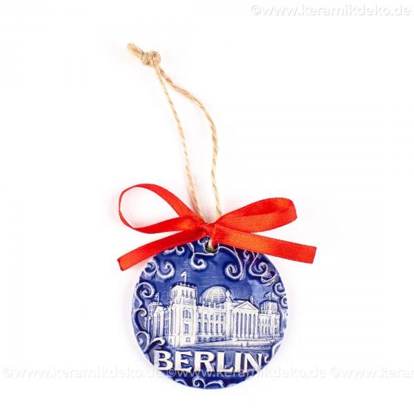 Berlin - Fernsehturm - runde form, blau, handgefertigte Keramik, Weihnachtsbaumschmuck