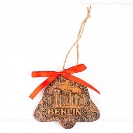 Berlin - Fernsehturm - Glockenform, braun, handgefertigte Keramik, Baumschmuck zu Weihnachten