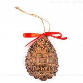 Berlin - Fernsehturm - Weihnachtsmann-form, braun, handgefertigte Keramik, Baumschmuck zu Weihnachten