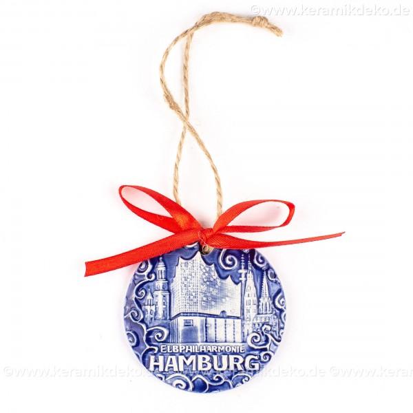 Hamburg - Panorama mit Elbphilharmonie - runde form, blau, handgefertigte Keramik, Weihnachtsbaumschmuck