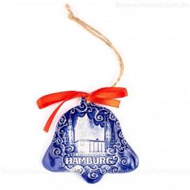 Hamburg - Panorama mit Elbphilharmonie - Glockenform, blau, handgefertigte Keramik, Baumschmuck zu Weihnachten
