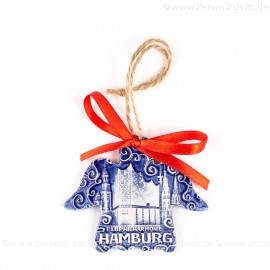 Hamburg - Panorama mit Elbphilharmonie - Engelform, blau, handgefertigte Keramik, Weihnachtsbaum-Hänger
