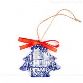 Hamburg - Panorama mit Elbphilharmonie - Weihnachtsbaum-form, blau, handgefertigte Keramik, Weihnachtsbaumschmuck