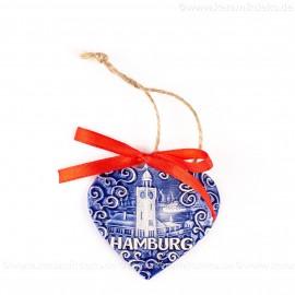 Hamburger Hafen - Herzform, blau, handgefertigte Keramik, Weihnachtsbaum-Hänger