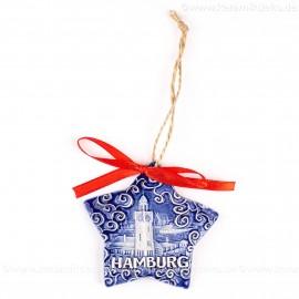 Hamburger Hafen - Sternform, blau, handgefertigte Keramik, Christbaumschmuck