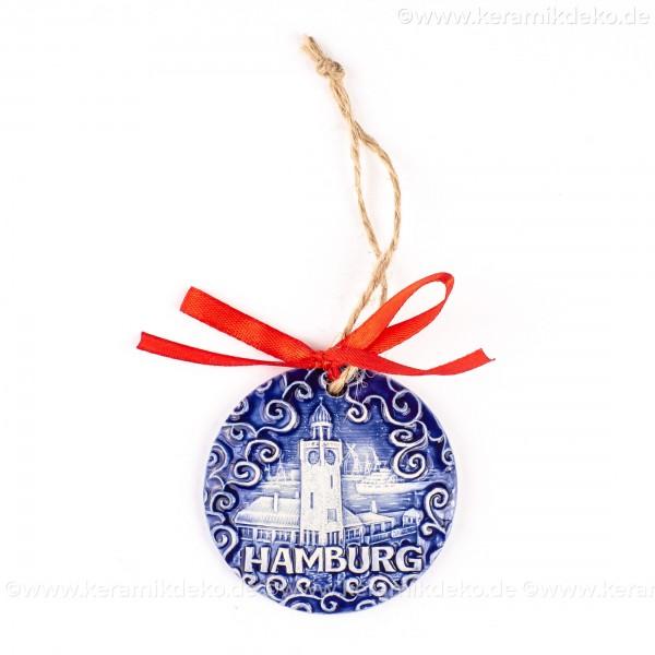 Hamburger Hafen - runde form, blau, handgefertigte Keramik, Weihnachtsbaumschmuck