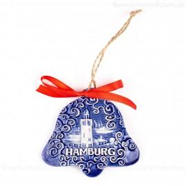 Hamburger Hafen - Glockenform, blau, handgefertigte Keramik, Baumschmuck zu Weihnachten
