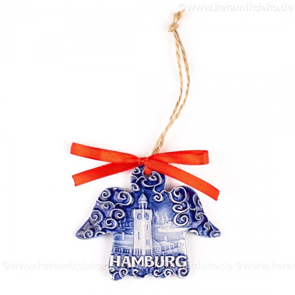 Hamburger Hafen - Engelform, blau, handgefertigte Keramik, Weihnachtsbaum-Hänger