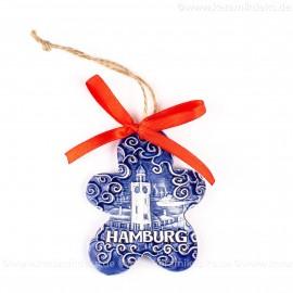 Hamburger Hafen - Keksform, blau, handgefertigte Keramik, Christbaumschmuck