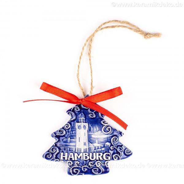 Hamburger Hafen - Weihnachtsbaum-form, blau, handgefertigte Keramik, Weihnachtsbaumschmuck