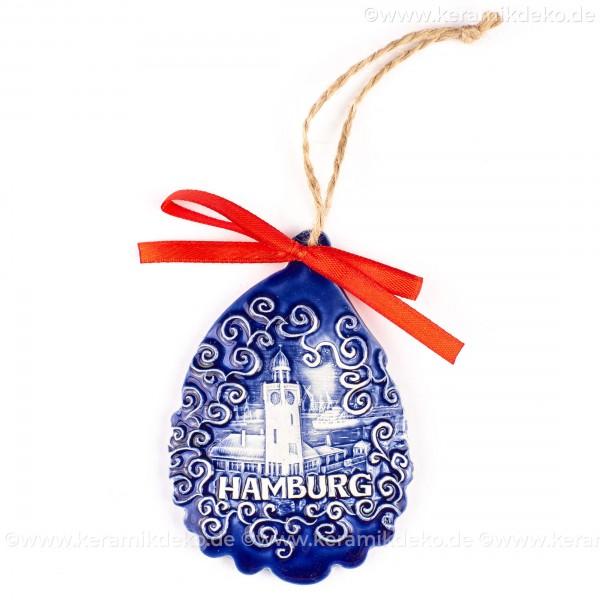 Hamburger Hafen - Weihnachtsmann-form, blau, handgefertigte Keramik, Baumschmuck zu Weihnachten