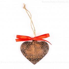 Hamburger Hafen - Herzform, braun, handgefertigte Keramik, Weihnachtsbaum-Hänger