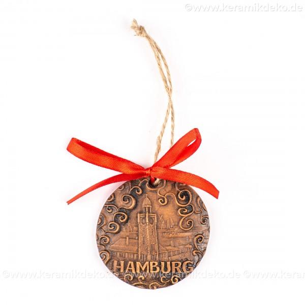 Hamburger Hafen - runde form, braun, handgefertigte Keramik, Weihnachtsbaumschmuck