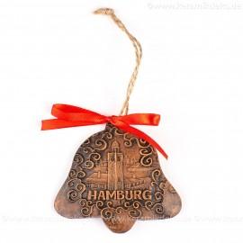 Hamburger Hafen - Glockenform, braun, handgefertigte Keramik, Baumschmuck zu Weihnachten