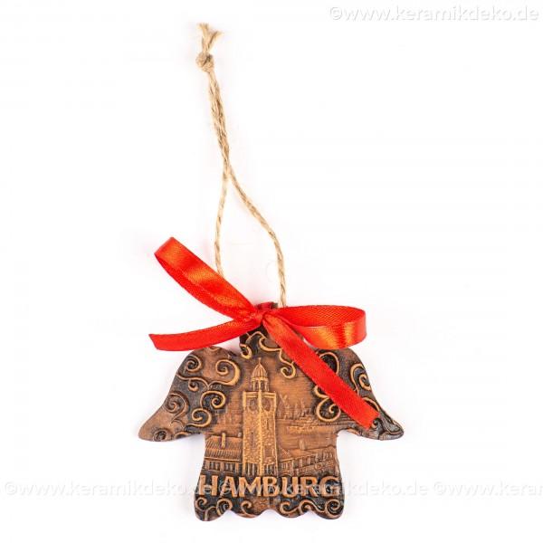 Hamburger Hafen - Engelform, braun, handgefertigte Keramik, Weihnachtsbaum-Hänger