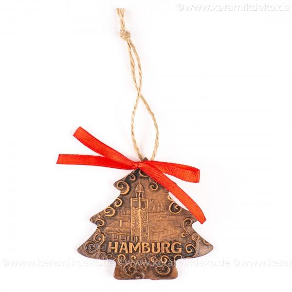Hamburger Hafen - Weihnachtsbaum-form, braun, handgefertigte Keramik, Weihnachtsbaumschmuck