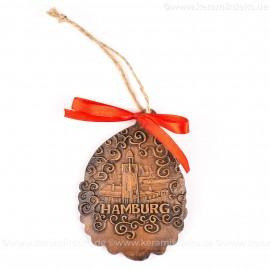 Hamburger Hafen - Weihnachtsmann-form, braun, handgefertigte Keramik, Baumschmuck zu Weihnachten