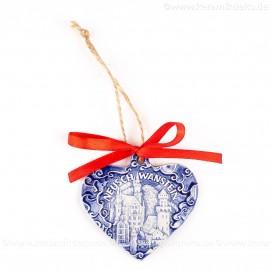 Schloss Neuschwanstein - Herzform, blau, handgefertigte Keramik, Weihnachtsbaum-Hänger