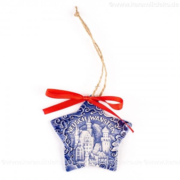 Schloss Neuschwanstein - Sternform, blau, handgefertigte Keramik, Christbaumschmuck