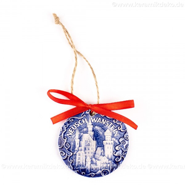 Schloss Neuschwanstein - runde form, blau, handgefertigte Keramik, Weihnachtsbaumschmuck
