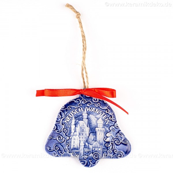 Schloss Neuschwanstein - Glockenform, blau, handgefertigte Keramik, Baumschmuck zu Weihnachten