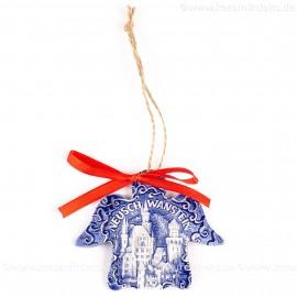 Schloss Neuschwanstein - Engelform, blau, handgefertigte Keramik, Weihnachtsbaum-Hänger