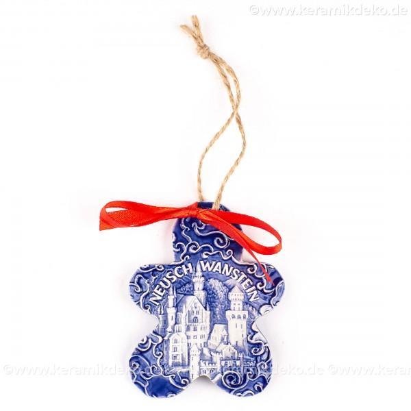 Schloss Neuschwanstein - Keksform, blau, handgefertigte Keramik, Christbaumschmuck