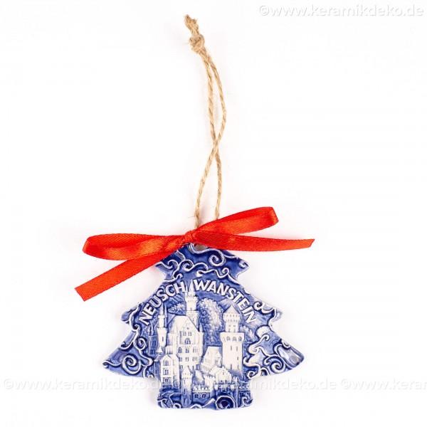 Schloss Neuschwanstein - Weihnachtsbaum-form, blau, handgefertigte Keramik, Weihnachtsbaumschmuck
