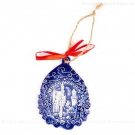 Schloss Neuschwanstein - Weihnachtsmann-form, blau, handgefertigte Keramik, Baumschmuck zu Weihnachten