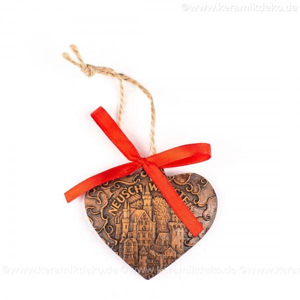 Schloss Neuschwanstein - Herzform, braun, handgefertigte Keramik, Weihnachtsbaum-Hänger