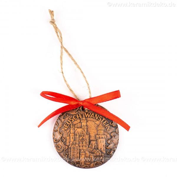 Schloss Neuschwanstein - runde form, braun, handgefertigte Keramik, Weihnachtsbaumschmuck