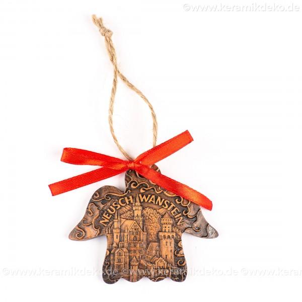 Schloss Neuschwanstein - Engelform, braun, handgefertigte Keramik, Weihnachtsbaum-Hänger